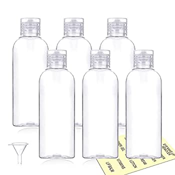 Plastic Travel Bottles,100ml/3.4oz Empty Small Squeeze Bottle Containers for Toiletries With Flip Cap 6 Pack