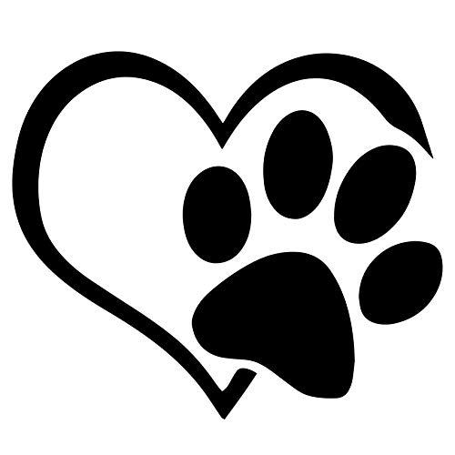 Custom Vinyl Pegatina de Coches Impermeable Resistente Calor Diseño Corazón Forma Huella de Perro (Negro)
