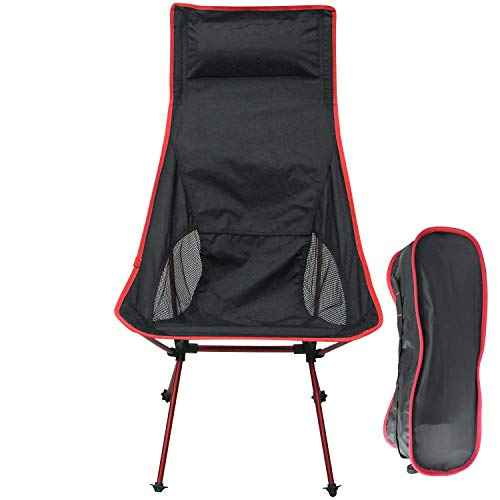 Sutekus Ultralight Backpacking Camping Chair High Back Portable Chair with Headrest & Carry Bag for Camping Hiking Brach Outdoor (Red)