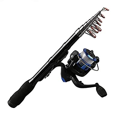 NOLOGO Js-mlq Mini Portable Telescopic Fishing Rod Spinning Carbon Fish Hand Fishing Tackle Sea Rod Ocean Rod Fishing Pole 1.0M