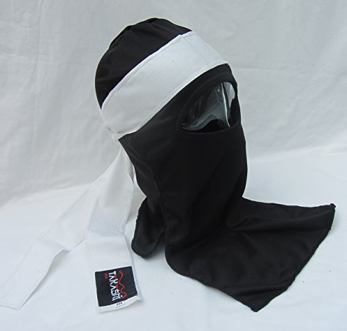 SHIHAN Shinobi Ninja Ultimate Warrior Maschera per il viso giapponese (AKA) Maschera nera con fascia per la testa bianca Tenugui sciarpa 1 taglio, costume Ninja maschera