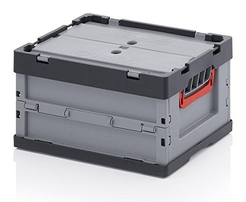 Profi-Faltbox mit Deckel 2er Set Auer Faltbox, FBB 43/22, 40x30x22 cm, 21 Liter, Behälter Stapelbehälter Aufbewahrungskiste Transportbox Plastikbox