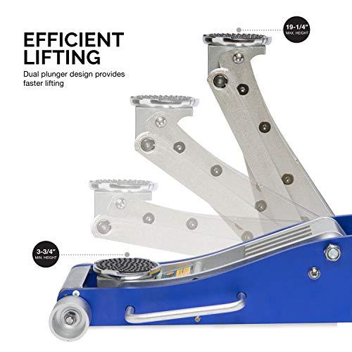 Neiko Pro 20272B Premium Low Profile Aluminum Floor Jack | 3 Ton Capacity | Dual Pump Design