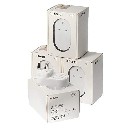 IKEA Tradfri Wireless Control UK 3-poliger Smart Stecker/Buchse (für Tradfri-Beleuchtungssysteme) – 4 Stück