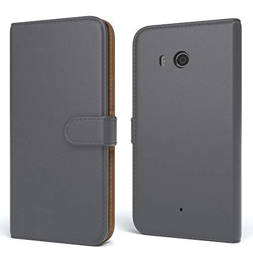 EAZY CASE Hülle für Nokia Lumia 640 Dual SIM Bookstyle mit Standfunktion, Book-Style Case aufklappbar, Schutzhülle, Flipcase, Flipstyle, Flipcover mit 2 Kartenfächern aus Kunstleder, Anthrazit