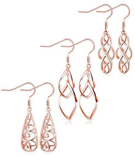 XCOIN 3 Pairs Celtic Knot Dangle Earrings for Women Silver Twist Wave Filigree Teardrop Fashion Earring Jewelry,Rose Gold