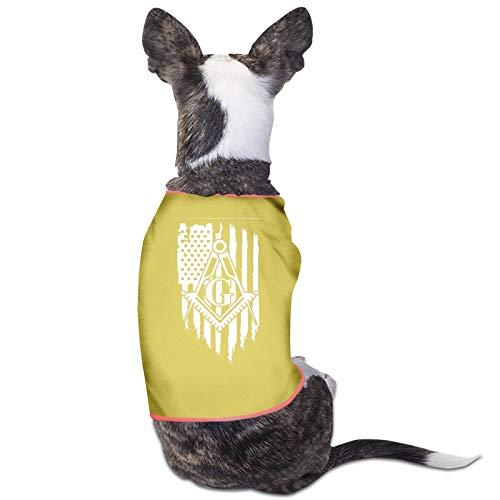Sudadera con capucha para perro y gato con bandera americana, diseo de masnico, color amarillo, talla S