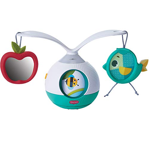 Tiny Love 3333130601 Tummy Time Mobile Giostrina Musicale per Bambini e Gioco per i Momenti a Pancia in Giù, con Suoni e Musica, Giostrina Culla e Passeggino, Collezione Meadow Days, Azzurro