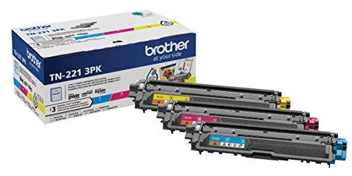 Brother Genuine Standard-Yield Toner Cartridge Three Pack TN221 3PK -Includes one Cartridge Each of Cyan, Magenta & Yellow Toner, Standard Yield (TN2213PK), Cyan, Magenta, Yellow