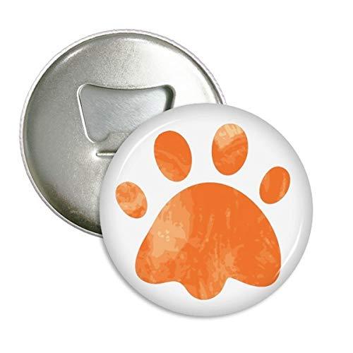 Orange Paw Print Footprint für Katzen Tier rund Flaschenöffner Kühlschrank Magnet Pins Badge Button Geschenk 3