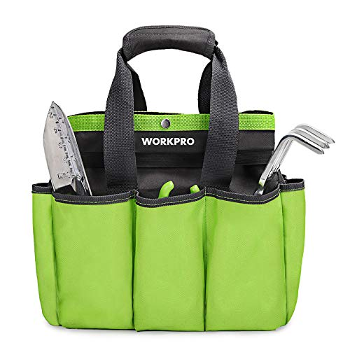 """WORKPRO Garden Tool Bag, Garden Tote Storage Bag with 8 Pockets, Home Organizer for Indoor and Outdoor Gardening, Garden Tool Kit Holder (Tools NOT Included), 12"""" x 12"""" x 6"""""""