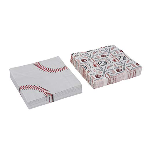 Baseball Theme Napkins Tableware -Birthday Party Supplies Perfect for Game Day, Tailgating, Sports Events, Family Dinner and Birthday Parties (80 Pack)