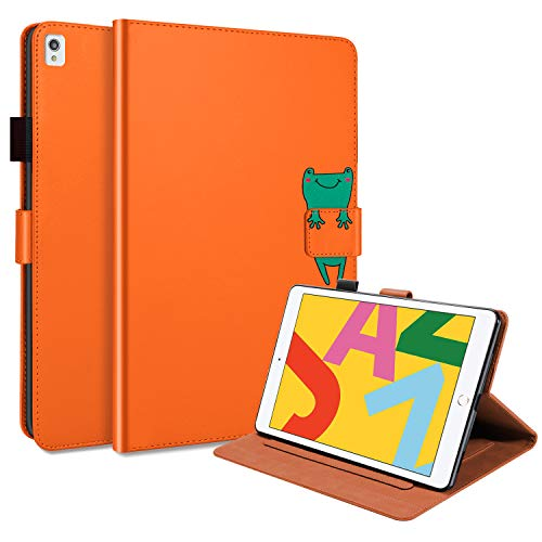 Uliking Smart Case for New iPad 10.2 2020 (8th Gen) 2019 (7th Gen), iPad Air 3 10.5' Case, Cartoon Design PU Leather Protective Covers with Multi-Viewing Kickstand & Auto Sleep/Wake, Orange Frog