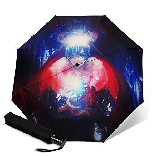 Black Butler Automatik Dreifach Faltbarer Regenschirm Unisex Tragbar Bedruckt Sonnenschirme