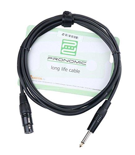 Pronomic XFJ-2.5 XLR zu Klinke-Kabel (unsymmetrisches Mikrofonkabel, Länge 2,5m, säure- und ölfest, Spannzangen-Zugentlastung) schwarz