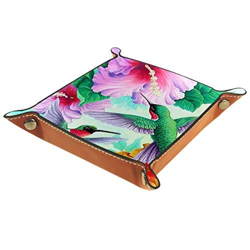 YATELI Caja de Almacenamiento pequeña, Bandeja de Valet para Hombre,Pájaros de zumbidos de Primavera Flores de Hibisco de Verano Bienvenido,Organizador de Cuero para Llaves de Caja de Monedas