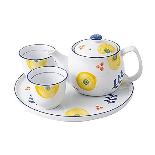 Juego de té de Estilo japonés, Tetera de cerámica doméstica/Taza de té con Filtro, Utilizado para Regalos/Boda/hogar y Oficina (Color : B, Size : 1 Pot+2 Cups+1 Round Tray)