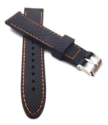 Cinturino in silicone da 22 mm, nero con cuciture arancioni, impermeabile,...