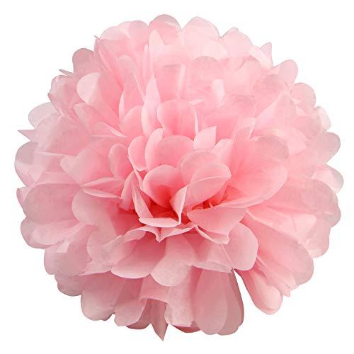 10 pompones de papel de seda para colgar, pompones de papel de seda para decoración de boda, cumpleaños, fiesta (rosa, rosa claro y rosa), rosa pastel, 10 pulgadas