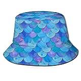 Jacklee Sombrero de pescador escocés, unisex, diseño de cuadros escoceses Balanza de pescado de sirena azul mar Talla única