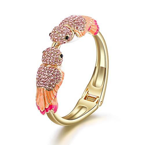 EVER FAITH Armreif Österreichische Kristall Emaille Zwei entzückende Spatzenvogel Tier Armband in Rosa Gold-Ton