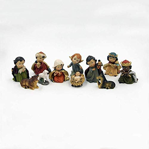 IUYJVR Exquisite 11 Pieces Miniature Exquisite Christmas Dolls Nativity Scene Set Decoration Figurine Figure Statue