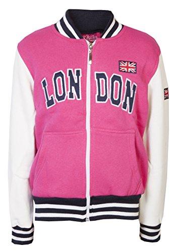 Chaqueta de béisbol para niños y niñas, con impresión en inglés: London, con cremallera Rosa hot pink 7-8 Años