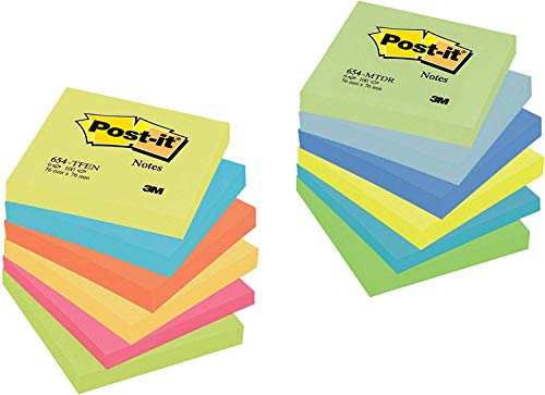Post-it 654 TFEN+MTDR - Blocs de notas adhesivas (12 unidades, colores surtidos)