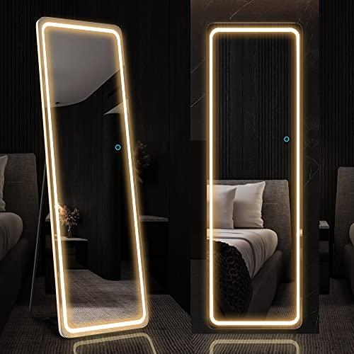 LVSOMT 160x50cm Ganzkörperspiegel mit LED-Beleuchtung, freistehender Bodenspiegel, Wandspiegel, beleuchteter Kosmetikspiegel, großer Spiegel in voller Größe, Stehspiegel für Schlafzimmer (Weiß)