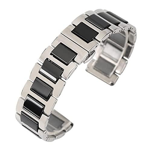 XINGFUQY 18/20mm Watch Bands Fit para Hombres Mujeres Diseño Especial Acero Inoxidable con cerámica Correa de muñeca Pulsera Reemplazo + 2 Barras de Primavera