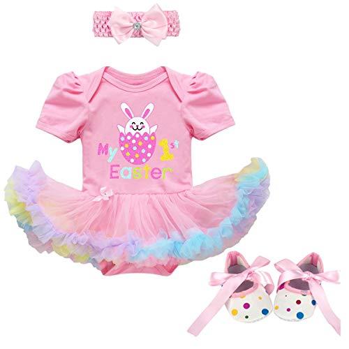 FYMNSI Conjunto de ropa para recién nacida para niña de 1ª Pascua, disfraz de princesa tutú con estampado de huevo de conejo de manga corta y zapatos de 3 piezas