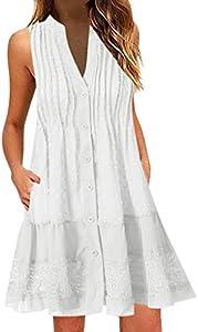 MERICAL El Vestido sin Mangas con Cuello de Pico de Verano de Moda para Mujer(Blanco,XXX-Large)