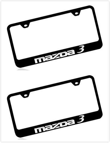 Estodia Black Stainless Steel License Plate Frame Cover Holder Metal with Screws Caps for Mazda 3 (2)
