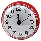 NA Reloj de Pared 7Cm Impermeable Cocina Baño Ducha Reloj Ventosa Ventosa Pared Rojo