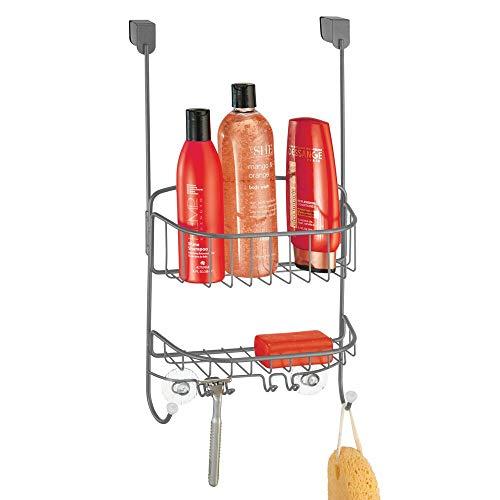 mDesign Estanterías de baño para Colgar – Práctico Colgador de Ducha sin Taladro – Estantes para baño de Metal con 2 cestas metálicas, 4 Ganchos pequeños y 2 Ganchos Grandes – Gris/Blanco