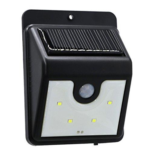 Luz LED Inalámbrico al aire libre 4 LED Solar Sensor de movimiento Luces Luces de seguridad a prueba de agua para la pared exterior Patio trasero Garaje Jardín Entrada de auto 200LM Iluminación
