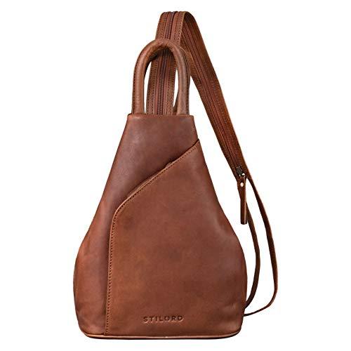 STILORD \'Lyanna\' Sling Bag Damen Leder Crossbody Rucksack 2-in-1 Handtasche Frauen Rucksackhandtasche für City Ausgehen Shopping Tagesrucksack Echtleder, Farbe:Mocca - Dunkelbraun