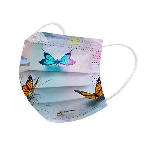 HEnri 10/100 Stücke Erwachsene Einweg Mundschutz Multifunktionstuch, 3-lagig Schmetterlings Gedruckt Maske,Weiche Staubdicht Atmungsaktive Vlies Mund-Nasenschutz Bandana Halstuch
