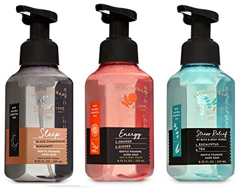 Bath and Body Works 3 Pack Aromatherapy Gentle Foaming Hand Soap. 8.75 Oz. Sleep, Energy & Stress Relief.
