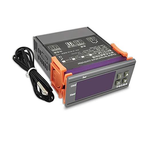 ACAMPTAR 7016A Termostato Digital Controlador de Temperatura Interruptor Medidor de Temperatura Termorregulador para Incubadora Caja NTC Sensor 24V