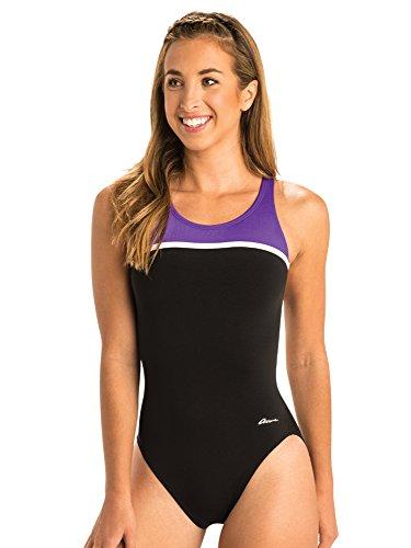 Dolfin Ocean Women's Swimsuit Panel HP Back Swimwear (24, Black/Purple)