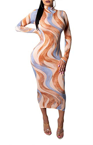 Ophestin Women Sexy Long Sleeve Turtleneck Floral Stripe Print Bodycon Slim Sheath Long Midi Pencil Dress