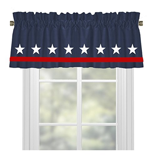 Stars Americana Red White and Blue Window Valance/Window Treatment - In Your Choice of Colors - Custom Made