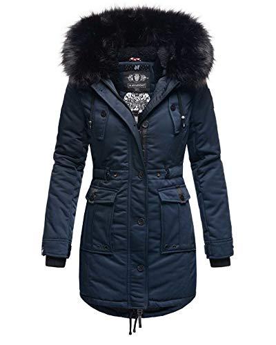 Navahoo Damen Winter Jacke Kapuze Winterjacke Parka Kunstfell Teddyfell B818 [B818-Lul-Pri-Navy-Gr.XS]