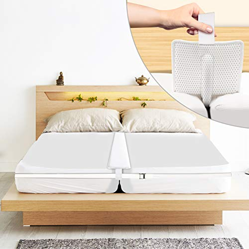 """Bed Bridge Twin to King Converter Kit 8.5"""" Wider Mattress Connector with Anti Slip Silicon Dotted Pad Foam Gap Filler Adjustable Strap to Make Two Twin XL Size Beds to King for Guests Stayovers"""