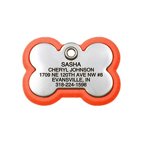 LuckyPet Pet ID Tag, Bone Frame Tag, Rugged Dog Tags with Colorful Frame, Custom Engraved, Large, Neon Orange & Stainless