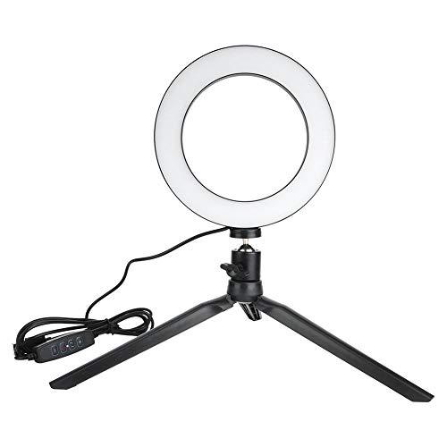 Sxhlseller LED ringlampa, 16 cm LED dimbar LED video ring ljus kamera lampa kit med skrivbord stativ mobiltelefonhållare USB-port för live, videochatt, selfie belysning, makeup