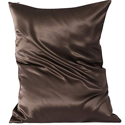 PiccoCasa Silk Pillowcase for Hair Skin 22momme Pillow with Zip Chocolate 20x30 Inch