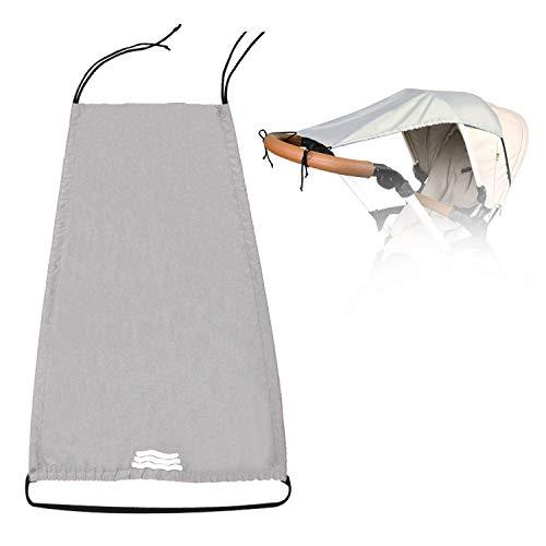Universal Sonnensegel für Kinderwagen Sonnenschutz mit UV Schutz 50+, Markise für Kinderwagen mit Reflektierend Band Buggy Sonnenverdeck Verstellbar Kinderwagen Sonnendach ZJ RIGHT Hellgrau
