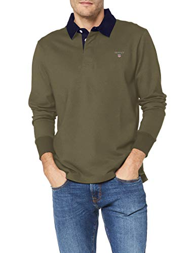 GANT Herren The ORIGINAL Heavy Rugger Pullover, Four Leaf Clover, XS